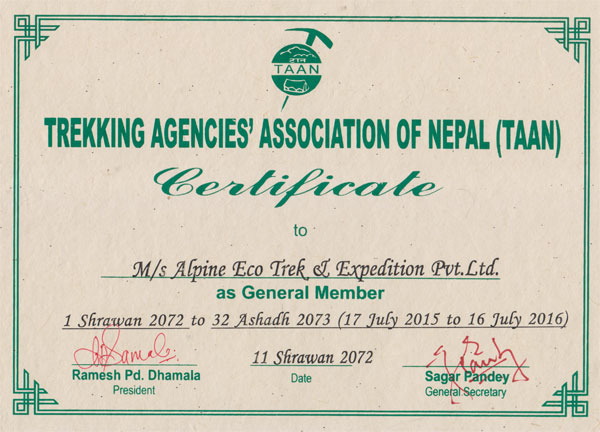 Certificate from Trekking Agent Association of Nepal