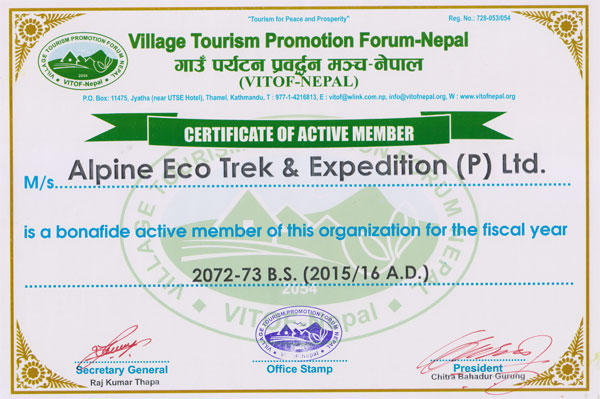 Certificate from Village Tourism Promotion Forum-Nepal